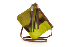 Designer Springbok Leather Handbag In Lime - Handcrafted in South Africa