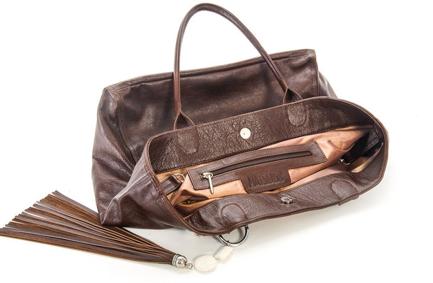 The Elan Convertible Shopper In Natural Springbok / Choc - Matsidiso South Africa