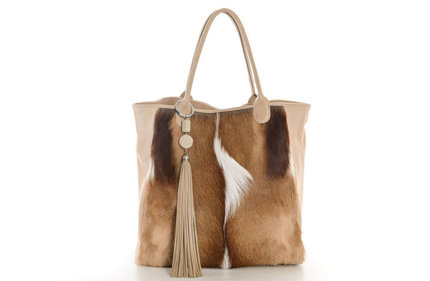 The Elan Convertible Shopper In Natural Springbok / Sand - Matsidiso South Africa