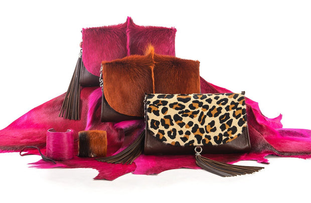 The Mavourneen Clutch In Leopard Print - Matsidiso South Africa