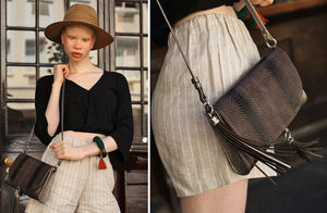 The Mavourneen Clutch In Pewter Embossed Python - Matsidiso South Africa