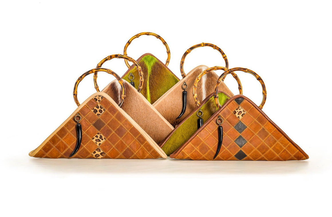 The Sanaa Triangle Bag In Diesel Toffee / Jag Patch - Matsidiso South Africa
