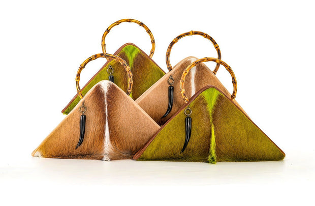 The Sanaa Triangle Bag In Springbok / Lime - Matsidiso South Africa