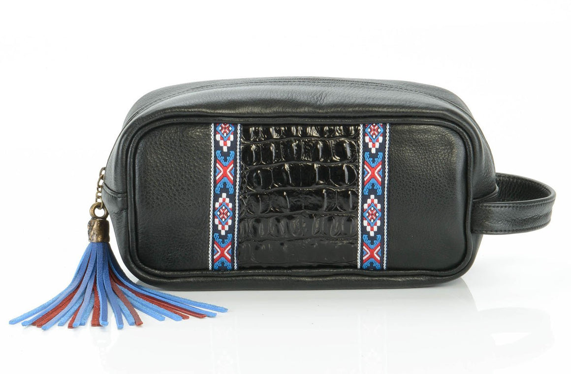 The Solivagant Toiletry Bag in Black Embellished - Matsidiso South Africa
