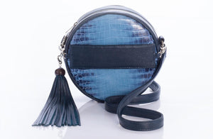 The Virago Two Way Bag In Croc Embossed Navy - Matsidiso South Africa