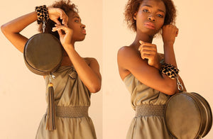 The Virago Two Way Bag In Olive / Cheetah - Matsidiso South Africa