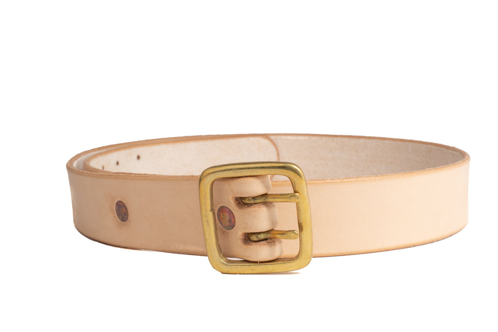 Leather 2 Prong Belt- Beige