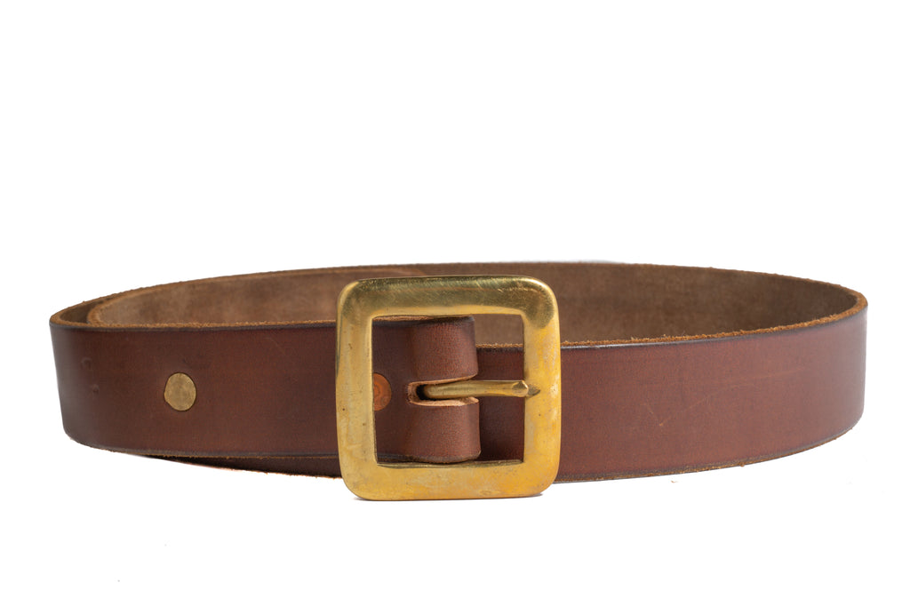 Leather 1 Prong Belt- Chocolate