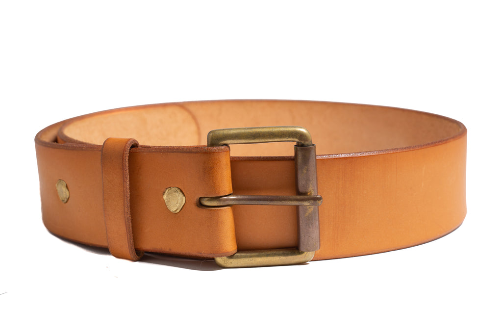 1 Prong Leather Belt- Cognac