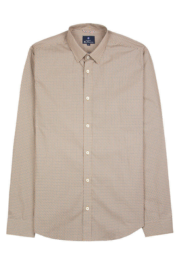 BEN SHERMAN SCATTERED PRINT L/S MEN SHIRT Dijon