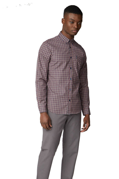 Camisa Hombre BEN SHERMAN MINI GINGHAM L/S MEN SHIRT Peach