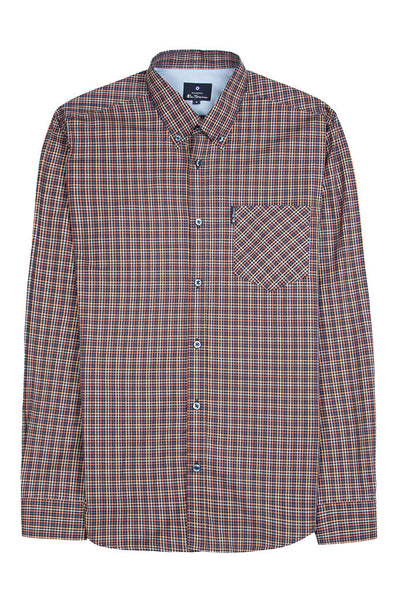 BEN SHERMAN MINI GINGHAM L/S MEN SHIRT Peach