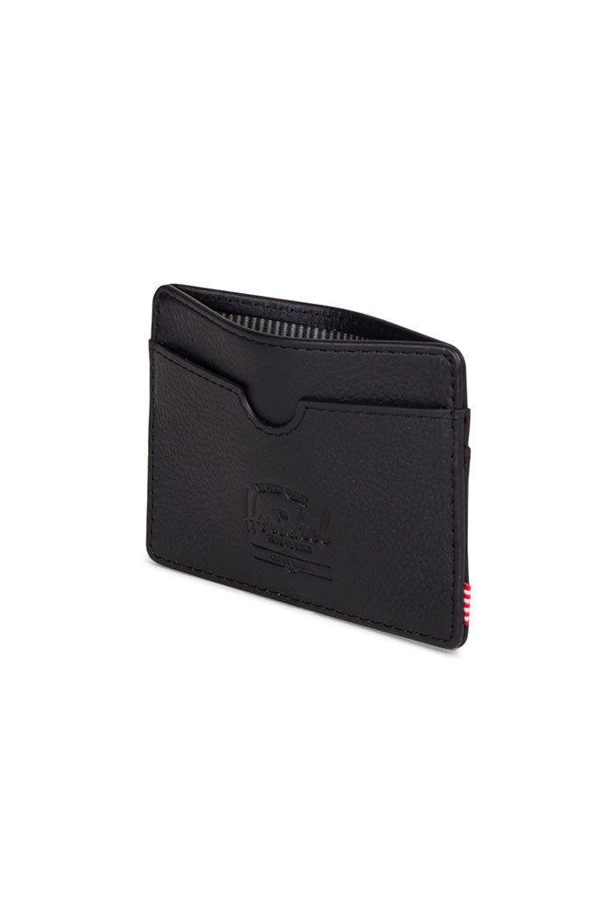 HERSCHEL CHARLIE LEATHER WALLET RFID Black Pebbled