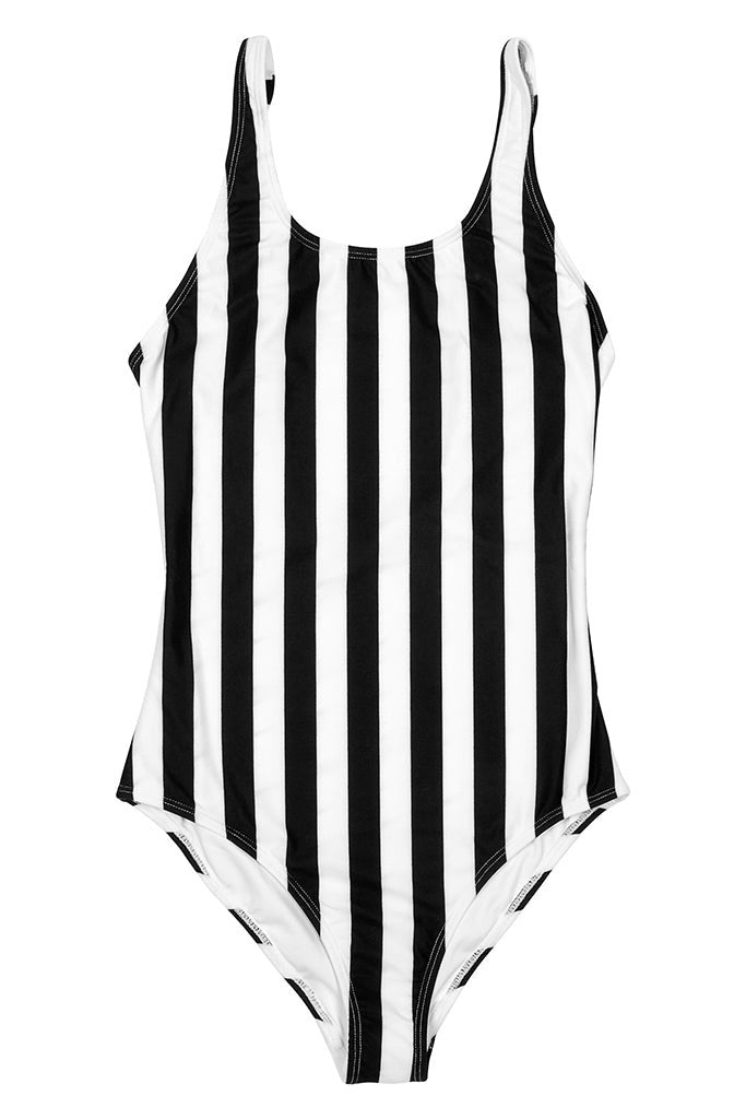 Bañador Mujer DEDICATED RANA BIG STRIPES WOMEN SWIMSUIT White / Black