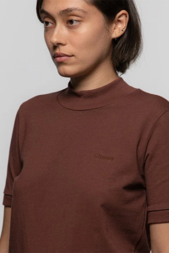 STUSSY S/S EMBROIDERED MOC WOMEN TEE Brown