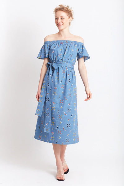 MIGLE+ME LINARES MIDI DRESS Blue