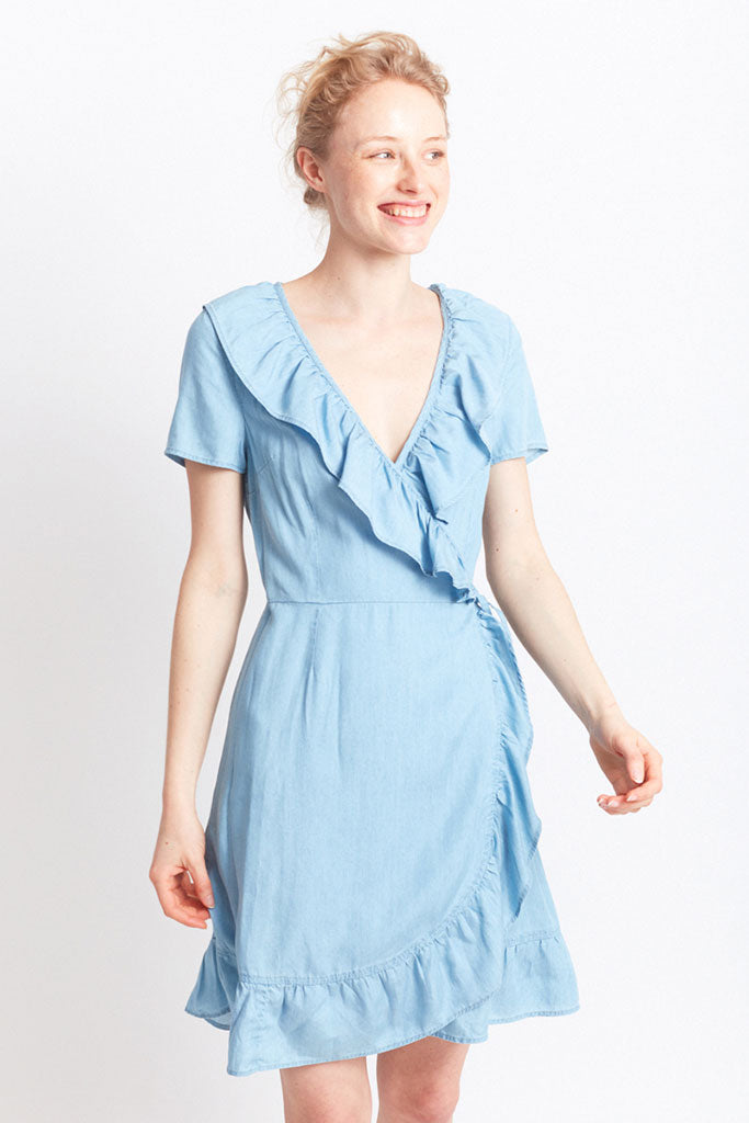 MIGLE+ME MIERES RUFFLE DRESS Blue