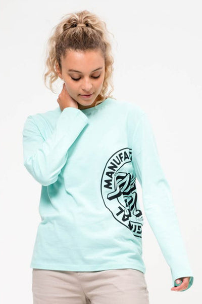 SANTA CRUZ MFG DOT OUTLINE L/S WOMEN TEE Bubblegum Blue