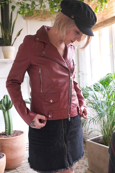 SPECTOR PERFECTO WOMEN LEATHER JACKET Red