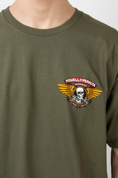 Camiseta Hombre POWELL PERALTA WINGED RIPPER TEE Military Green