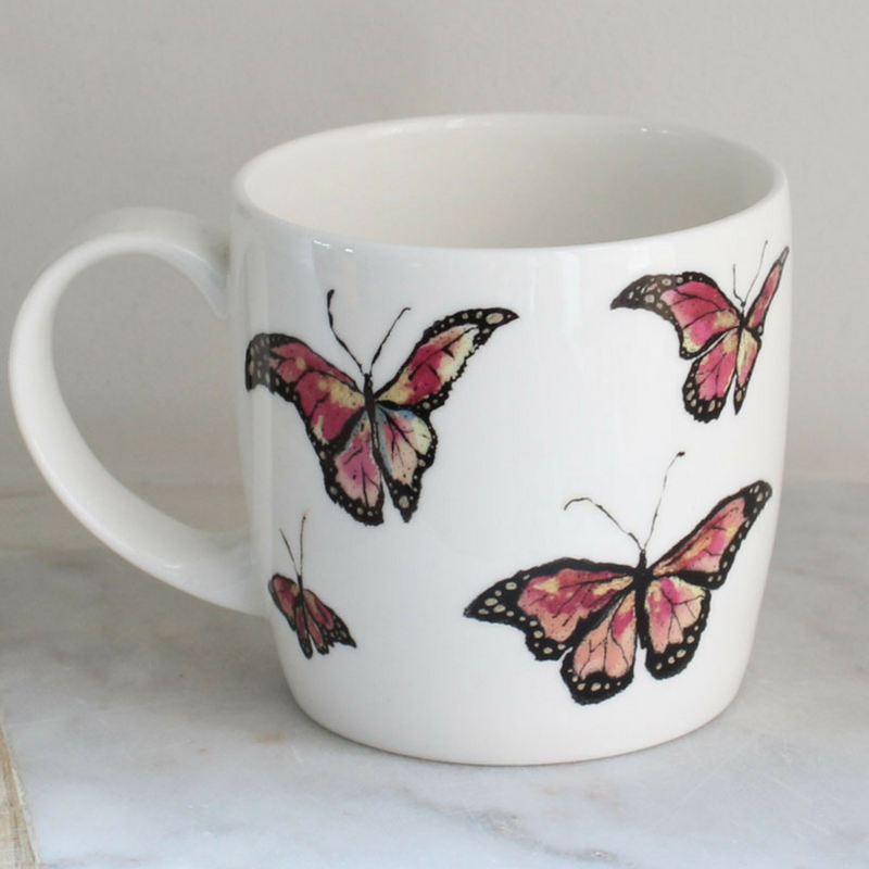 Anna Wright flutterbies york shaped fine bone china mug