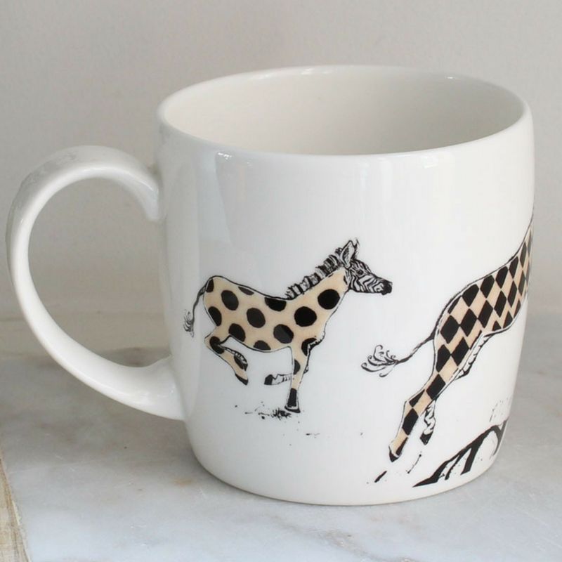 Anna Wright hot to trot york shaped fine bone china mug