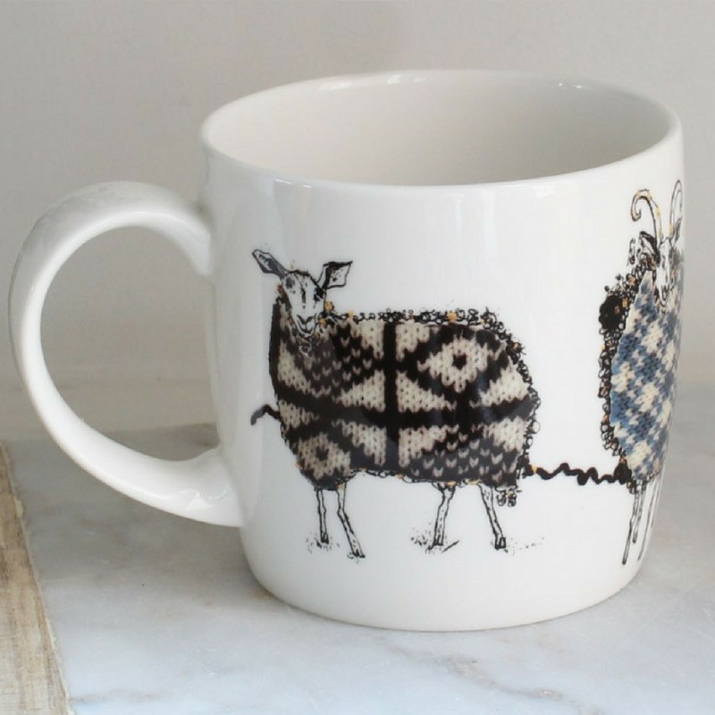 Anna Wright The Knitting Circle shaped fine bone china mug