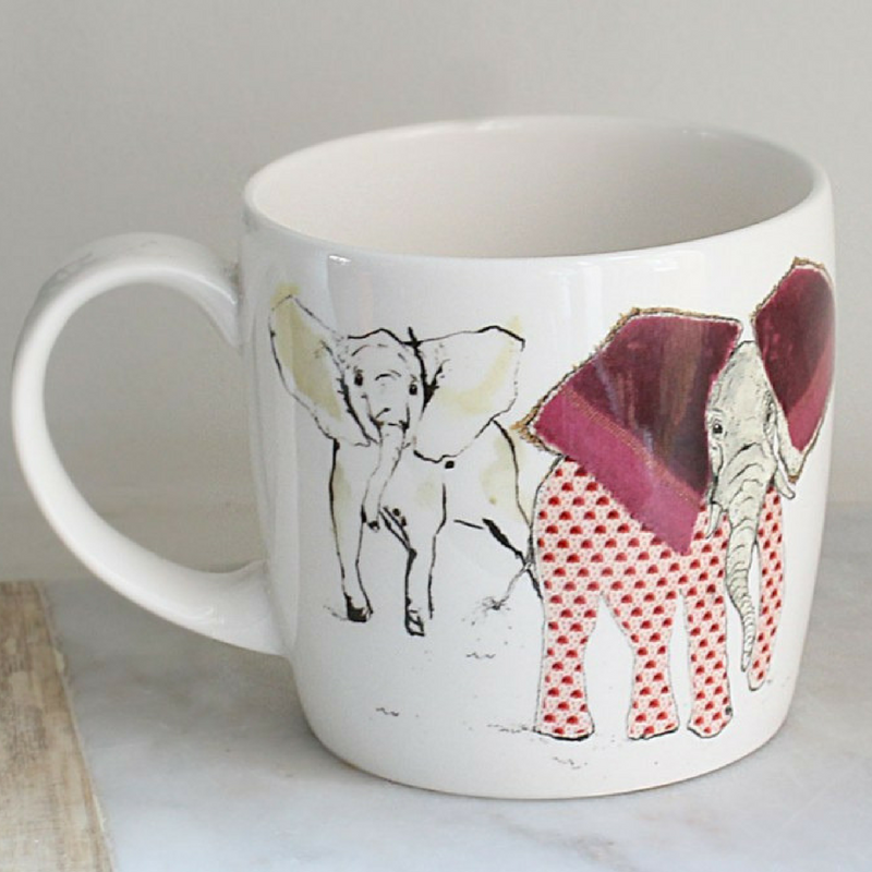 Anna Wright a heard of elephants york shaped fine bone china mug