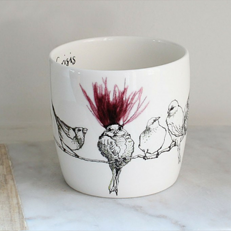 Anna Wright midlife crisis shaped fine bone china mug