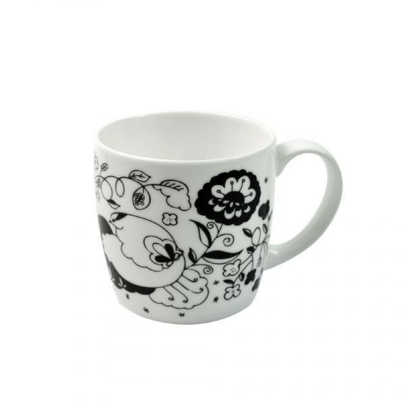 Joanne Webb's black design york shaped fine bone china mug