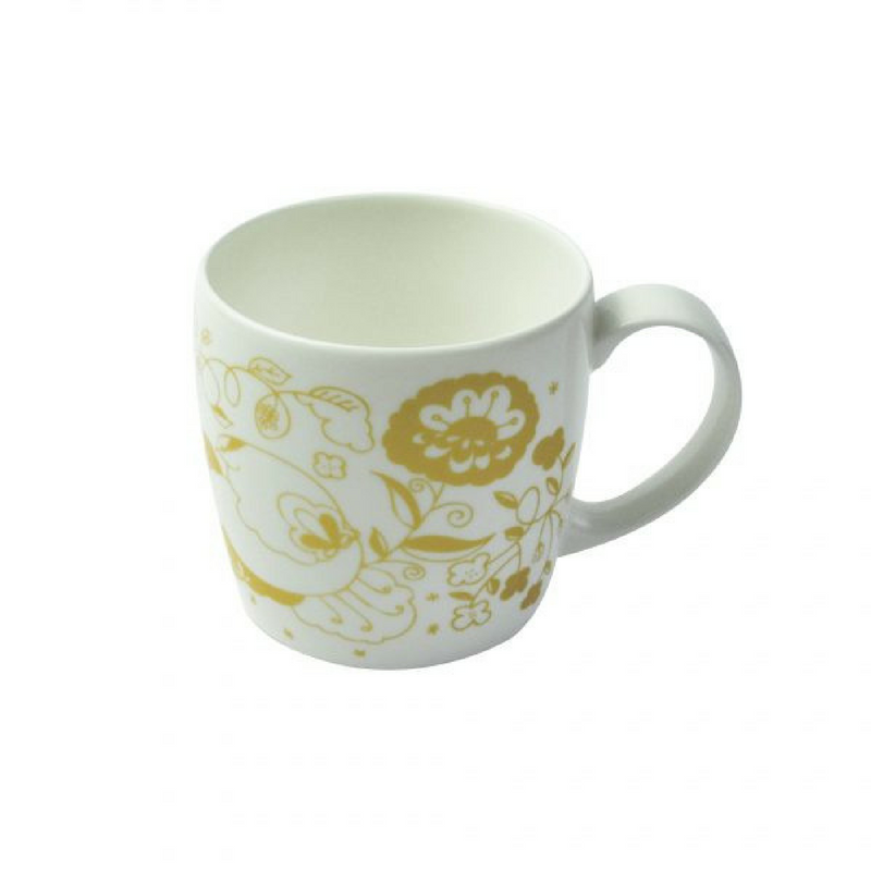 Joanne Webb's gold design york shaped fine bone china mug