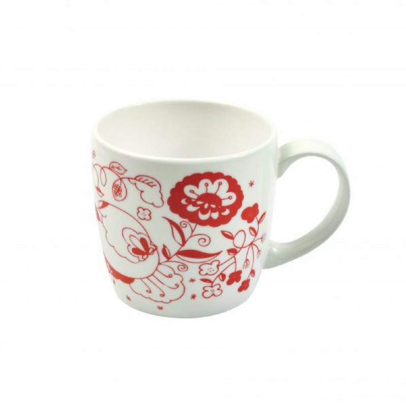 Joanne Webb's red design york shaped fine bone china mug