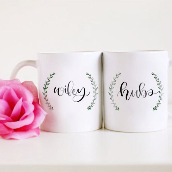 """Wifey and Hubs"" Set of Two - 11oz mugs"