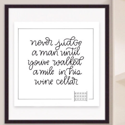 'Wine Cellar/Don't Prejudge' - wall art quote