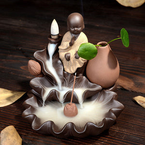 Meditating Monk Backflow Incense Burner