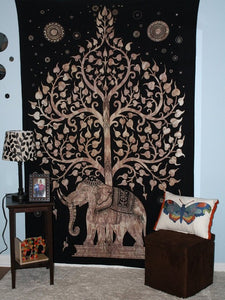 Tree Of Life Elephant Tapestry