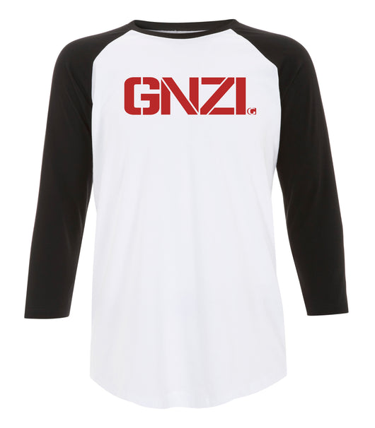 Ghanzi Brand GNZI Raglan t-shirt Baseball black and white noir et blanc red printed impression rouge