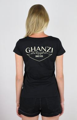 DELIGHT - GHANZI WOMEN T-SHIRT back printed - Black