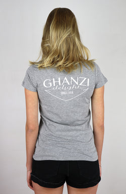 DELIGHT - GHANZI WOMEN T-SHIRT back printed - Melange grey