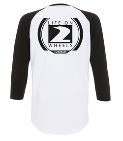 Life on two wheels Ghanzi Brand Ralgan 3/4 t-shirt Baseball White and black blanc et noir back printed impression dans le dos