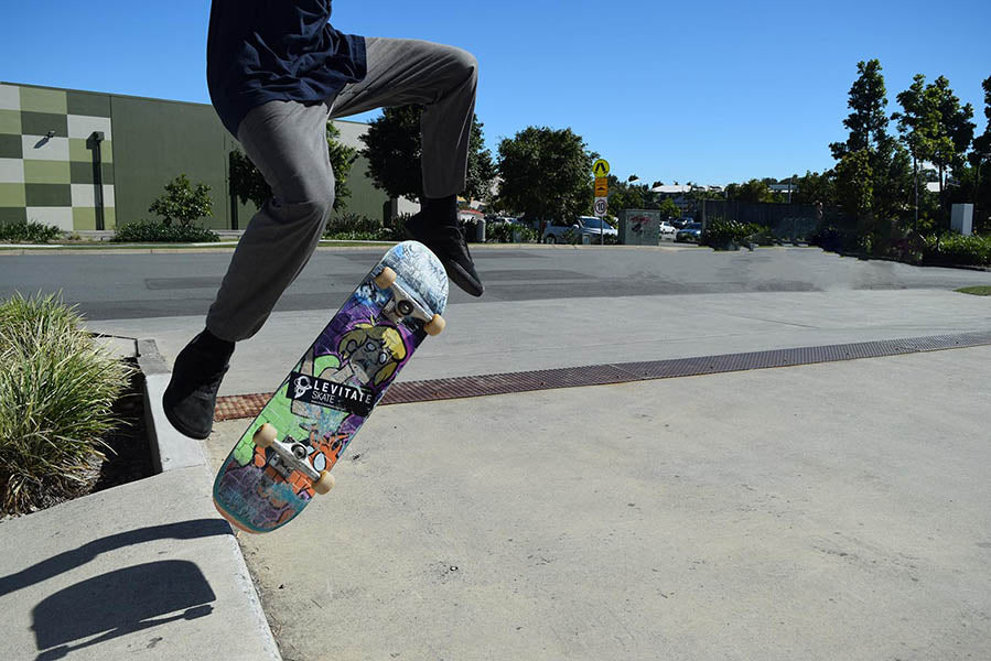 Kick flip using the Levitate Skate Zombie Do skateboard