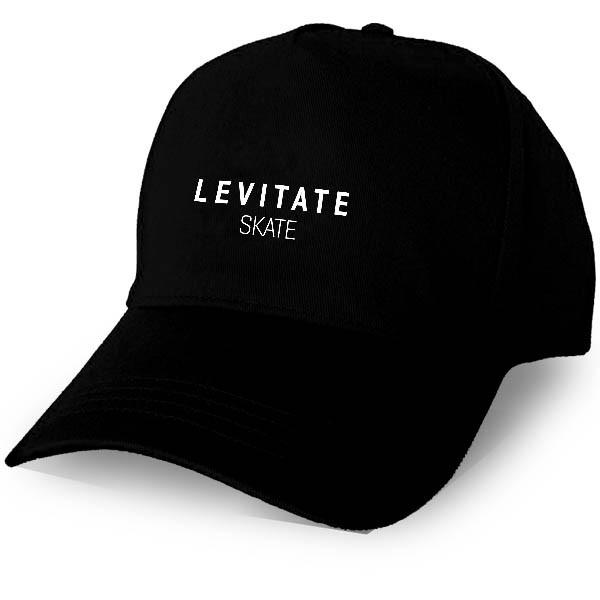 Heavy brushed cotton cap with adjustable velcro strap (one size fits all). Caps are a structured 6-panel with pre-curved peak. Caps are black with the white embroidered Levitate Skate brand name.