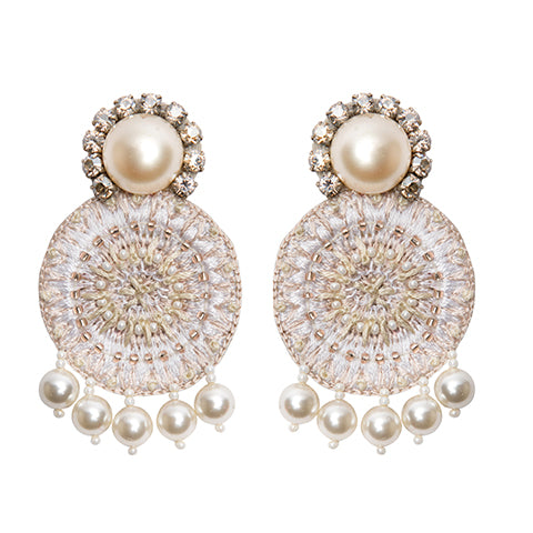 AZIZA EARRINGS - CREAM