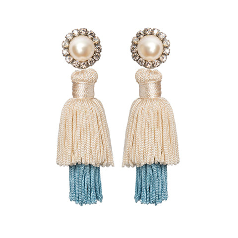 FARAH EARRINGS – CREAM/BLUE