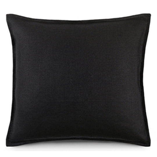 Belgian Linen Square Cushion - Black