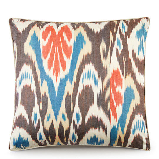 Hand Woven Silk Road Cushion - Coral