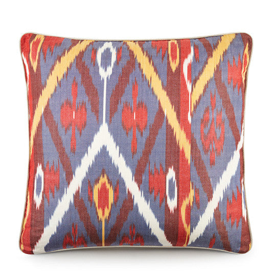 Hand Woven Silk Road Cushion - Blue Heron
