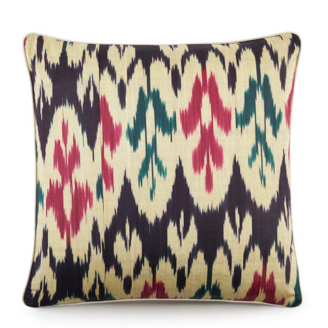 Hand Woven Silk Road Cushion - Sangria