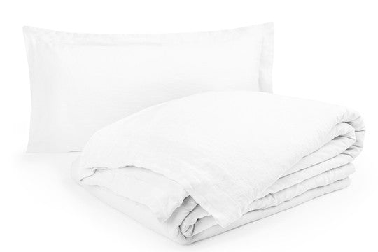 Linton French Flax Duvet Cover Set - White