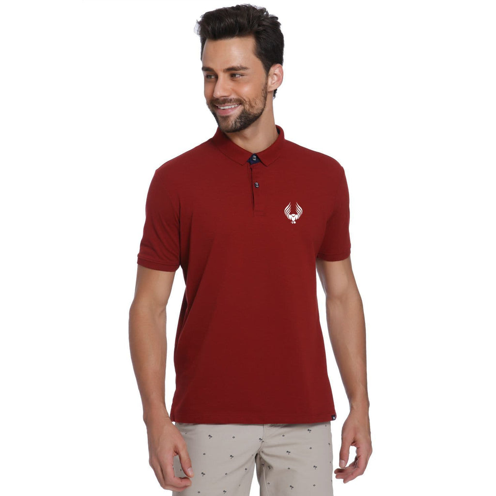 Owl Pocket Print Maroon Pique Men's Polo T-shirt - Teezo Lifestyle